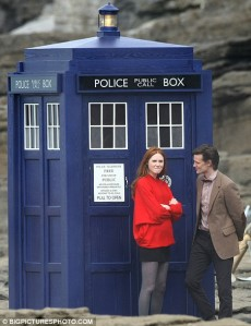 The Eleventh Doctor's TARDIS, with Karen Gillan (Amy Pond) and Matt Smith (The Doctor).