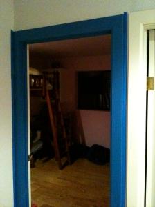 Door frame, first coat of paint.